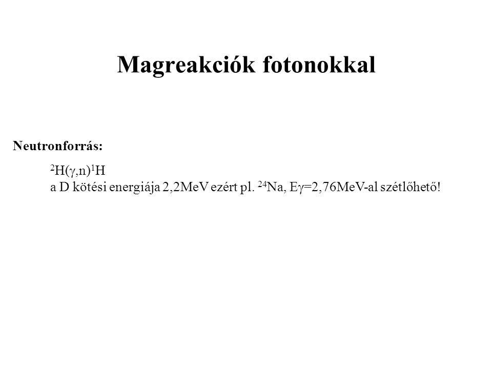 Magreakciók fotonokkal Neutronforrás: 2 H( ,n) 1 H a D kötési energiája 2,2MeV ezért pl. 24 Na, E  =2,76MeV-al szétlőhető!