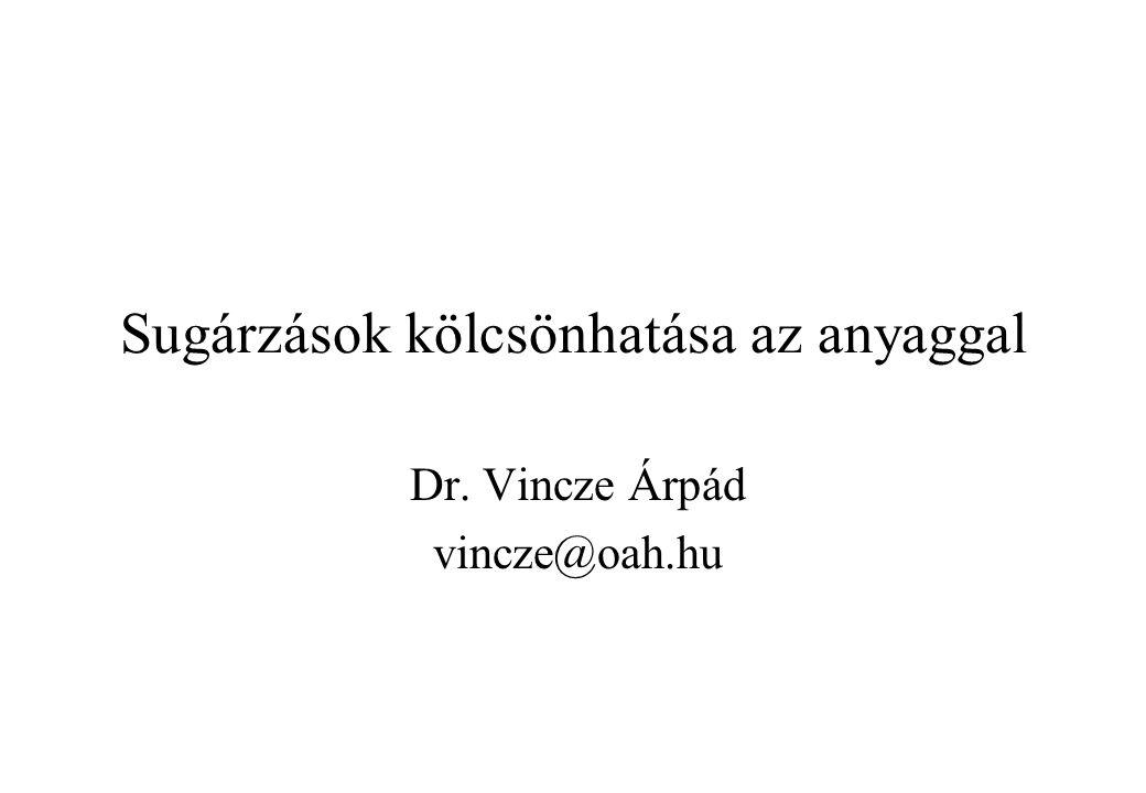 Sugárzások kölcsönhatása az anyaggal Dr. Vincze Árpád vincze@oah.hu