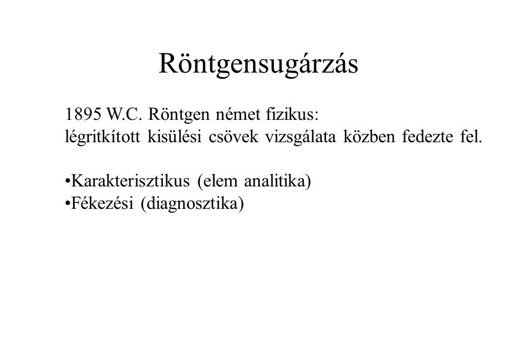 Röntgensugárzás 1895 W.C. Röntgen német fizikus: légritkított kisülési csövek vizsgálata közben fedezte fel. Karakterisztikus (elem analitika) Fékezés