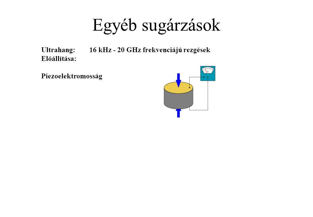 Egyéb sugárzások Ultrahang:16 kHz - 20 GHz frekvenciájú rezgések Előállítása: Piezoelektromosság
