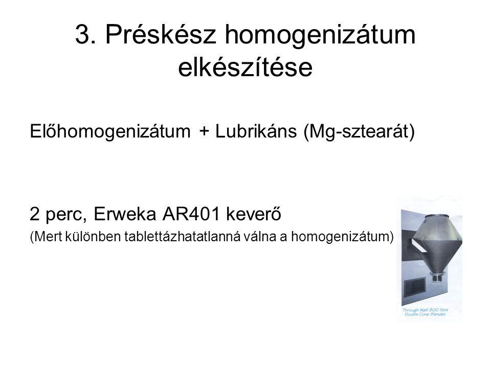 3. Préskész homogenizátum elkészítése Előhomogenizátum + Lubrikáns (Mg-sztearát) 2 perc, Erweka AR401 keverő (Mert különben tablettázhatatlanná válna