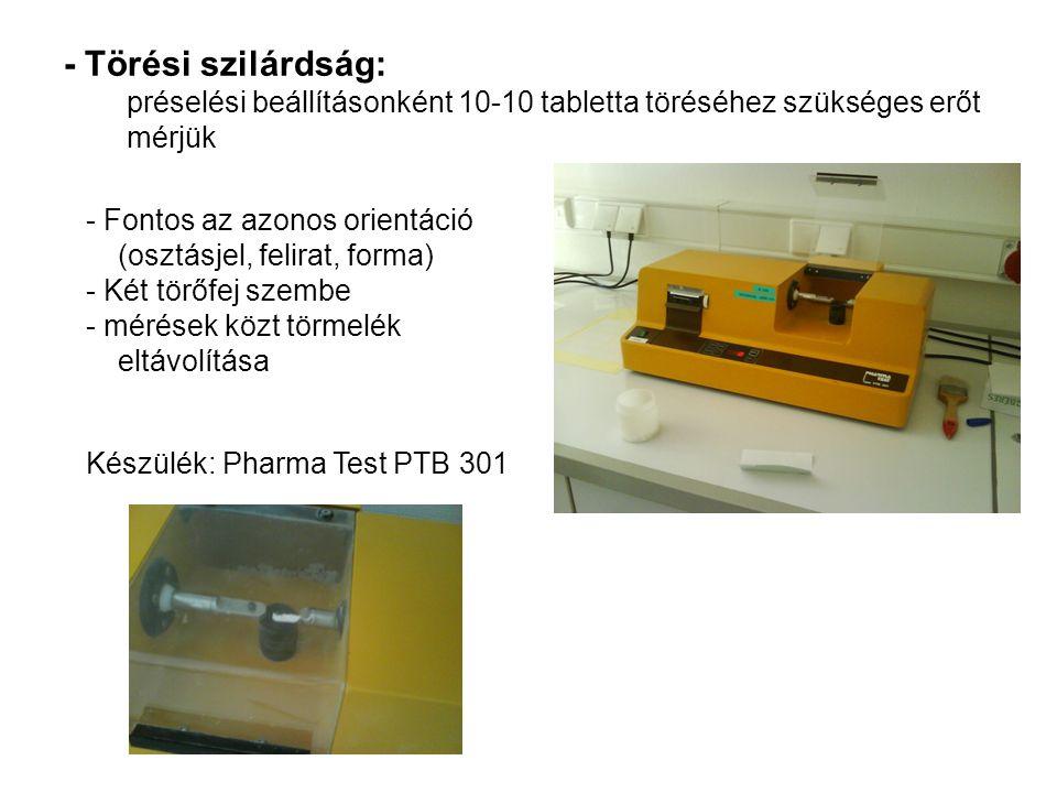 - Törési szilárdság: préselési beállításonként 10-10 tabletta töréséhez szükséges erőt mérjük - Fontos az azonos orientáció (osztásjel, felirat, forma