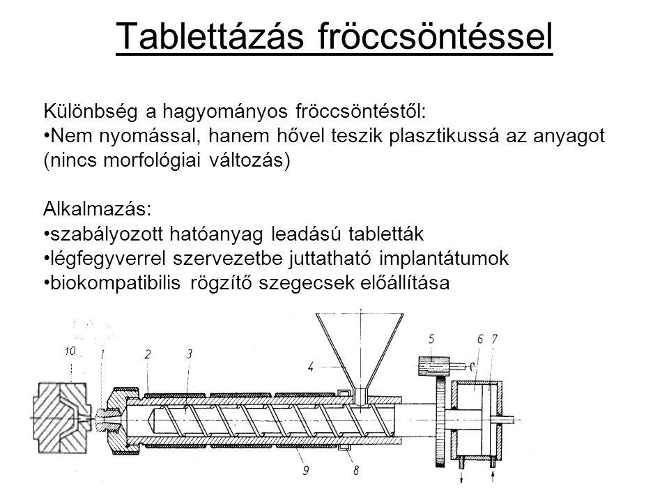 Tablettázás fröccsöntéssel Különbség a hagyományos fröccsöntéstől: Nem nyomással, hanem hővel teszik plasztikussá az anyagot (nincs morfológiai változ