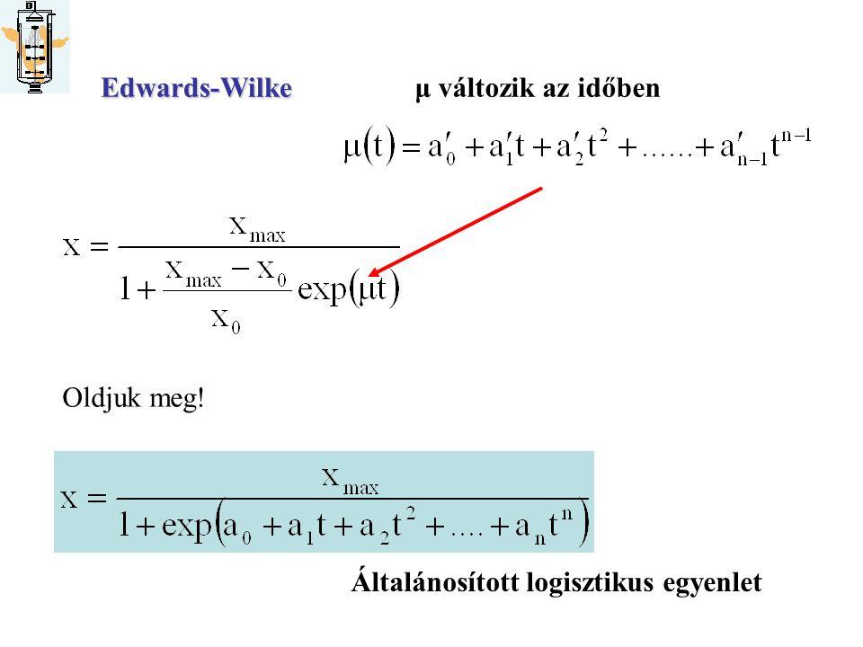 Hogyan határozzuk meg a modellek állandóitEdwards-Wilkeμ változik az időben Oldjuk meg! Általánosított logisztikus egyenlet (1968)