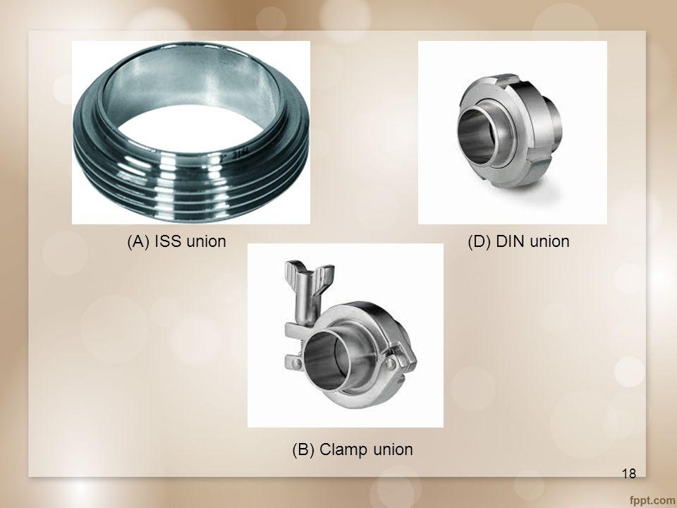 (B) Clamp union (D) DIN union(A) ISS union 18