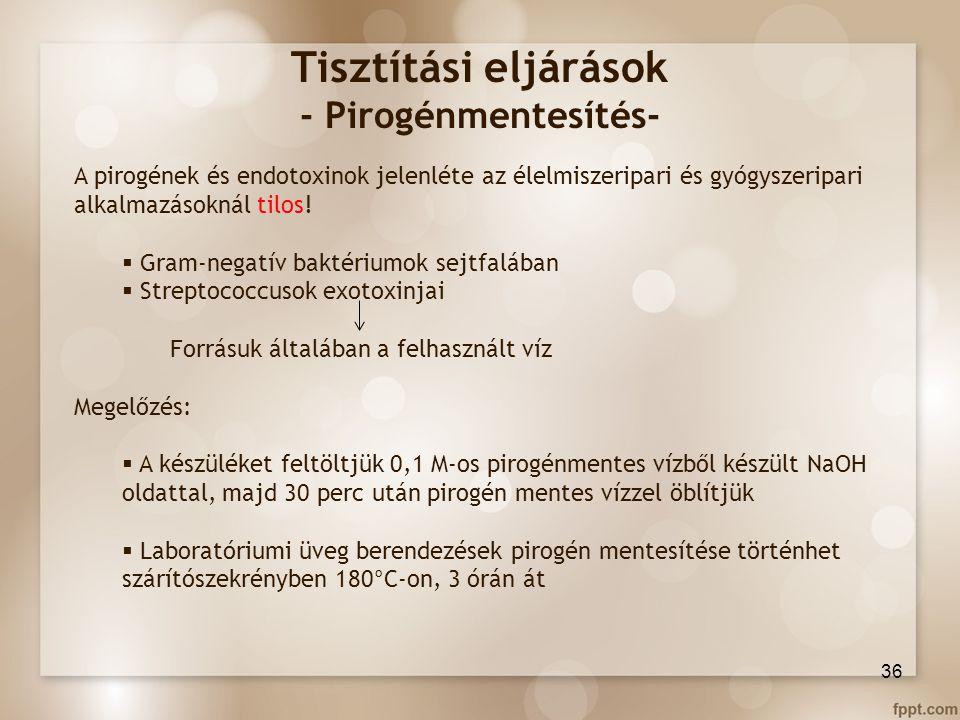 Tisztítási eljárások - Pirogénmentesítés- A pirogének és endotoxinok jelenléte az élelmiszeripari és gyógyszeripari alkalmazásoknál tilos!  Gram-nega
