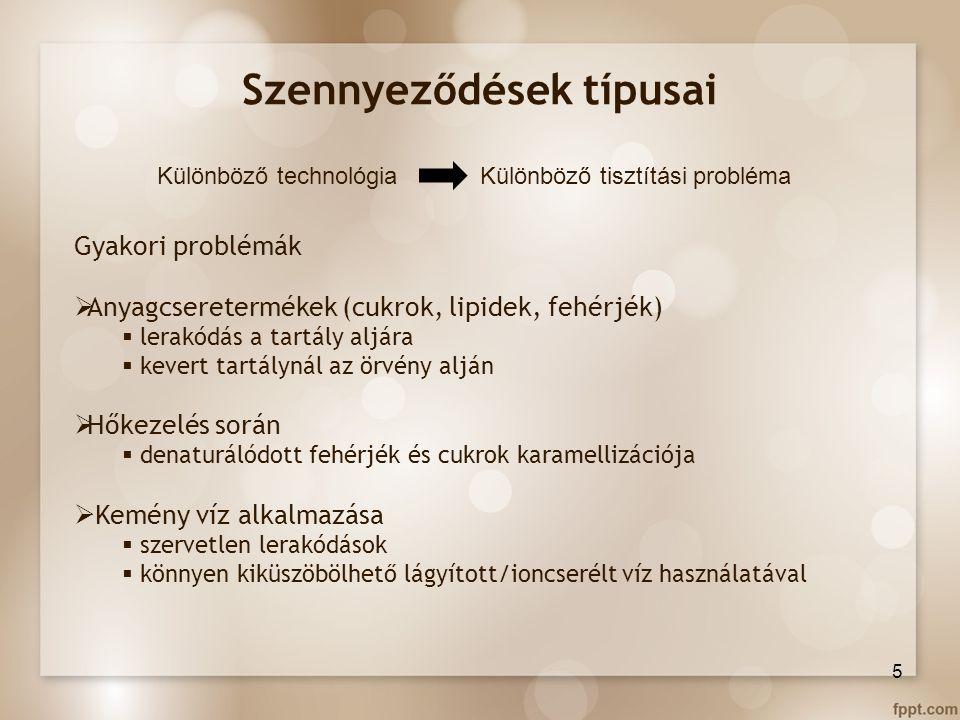 Szennyeződések típusai Különböző technológia Különböző tisztítási probléma Gyakori problémák  Anyagcseretermékek (cukrok, lipidek, fehérjék)  lerakó