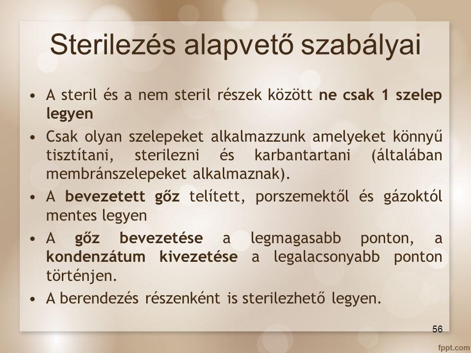 Sterilezés alapvető szabályai A steril és a nem steril részek között ne csak 1 szelep legyen Csak olyan szelepeket alkalmazzunk amelyeket könnyű tiszt