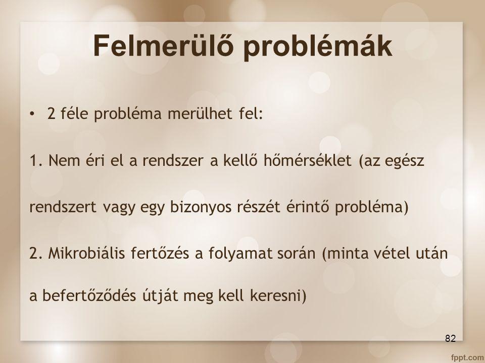 Felmerülő problémák 2 féle probléma merülhet fel: 1. Nem éri el a rendszer a kellő hőmérséklet (az egész rendszert vagy egy bizonyos részét érintő pro