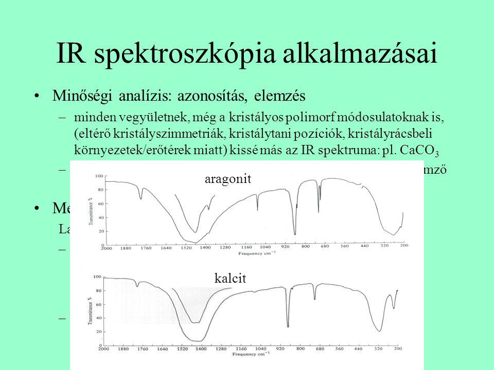 IR spektroszkópia alkalmazásai Minőségi analízis: azonosítás, elemzés –minden vegyületnek, még a kristályos polimorf módosulatoknak is, (eltérő kristá