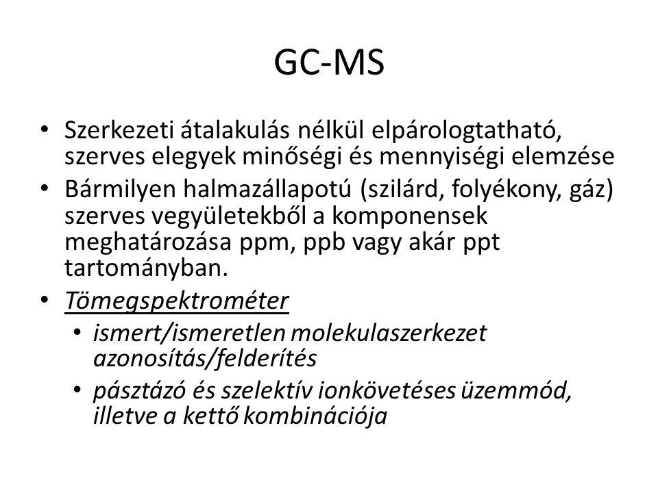 GC-MS Szerkezeti átalakulás nélkül elpárologtatható, szerves elegyek minőségi és mennyiségi elemzése Bármilyen halmazállapotú (szilárd, folyékony, gáz