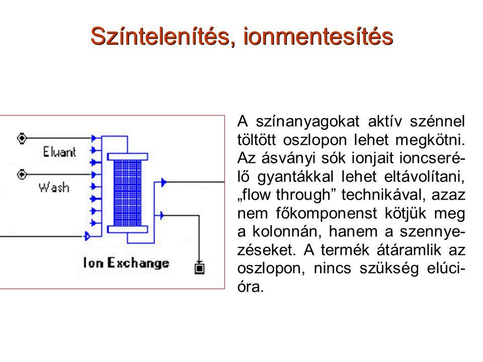 Színtelenítés, ionmentesítés A színanyagokat aktív szénnel töltött oszlopon lehet megkötni. Az ásványi sók ionjait ioncseré- lő gyantákkal lehet eltáv