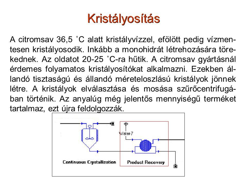 Kristályosítás A citromsav 36,5 ˚C alatt kristályvízzel, efölött pedig vízmen- tesen kristályosodik. Inkább a monohidrát létrehozására töre- kednek. A