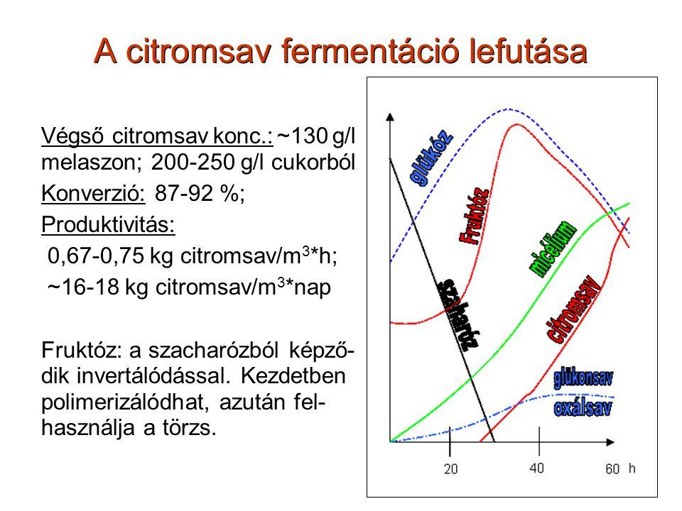 A citromsav fermentáció lefutása Végső citromsav konc.: ~130 g/l melaszon; 200-250 g/l cukorból Konverzió: 87-92 %; Produktivitás: 0,67-0,75 kg citrom