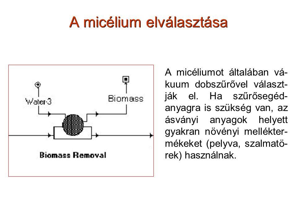 A micélium elválasztása A micéliumot általában vá- kuum dobszűrővel választ- ják el. Ha szűrősegéd- anyagra is szükség van, az ásványi anyagok helyett