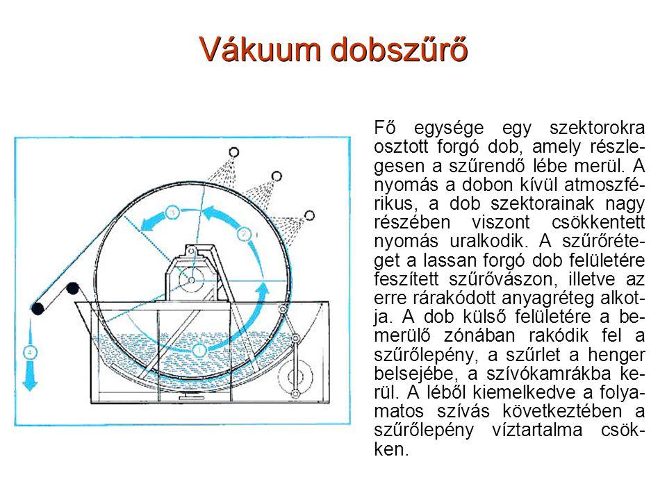 Vákuum dobszűrő Fő egysége egy szektorokra osztott forgó dob, amely részle- gesen a szűrendő lébe merül. A nyomás a dobon kívül atmoszfé- rikus, a dob