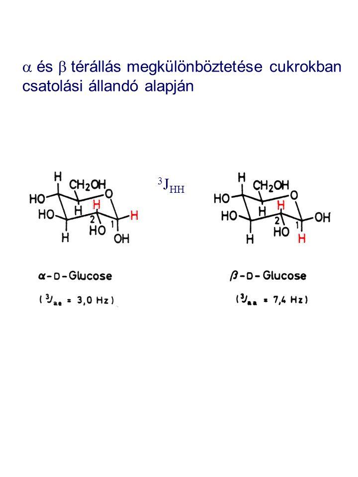  és  térállás megkülönböztetése cukrokban csatolási állandó alapján 3 J HH