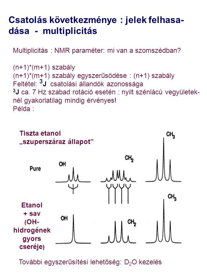 """Csatolás következménye : jelek felhasa- dása - multiplicitás Tiszta etanol """"szuperszáraz állapot"""" Etanol + sav ( OH- hidrogének gyors cseréje ) Multip"""