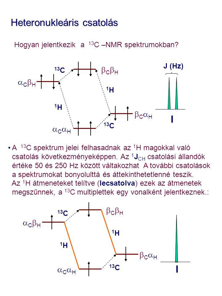 Heteronukleáris csatolás Heteronukleáris csatolás Hogyan jelentkezik a 13 C –NMR spektrumokban? A 13 C spektrum jelei felhasadnak az 1 H magokkal való
