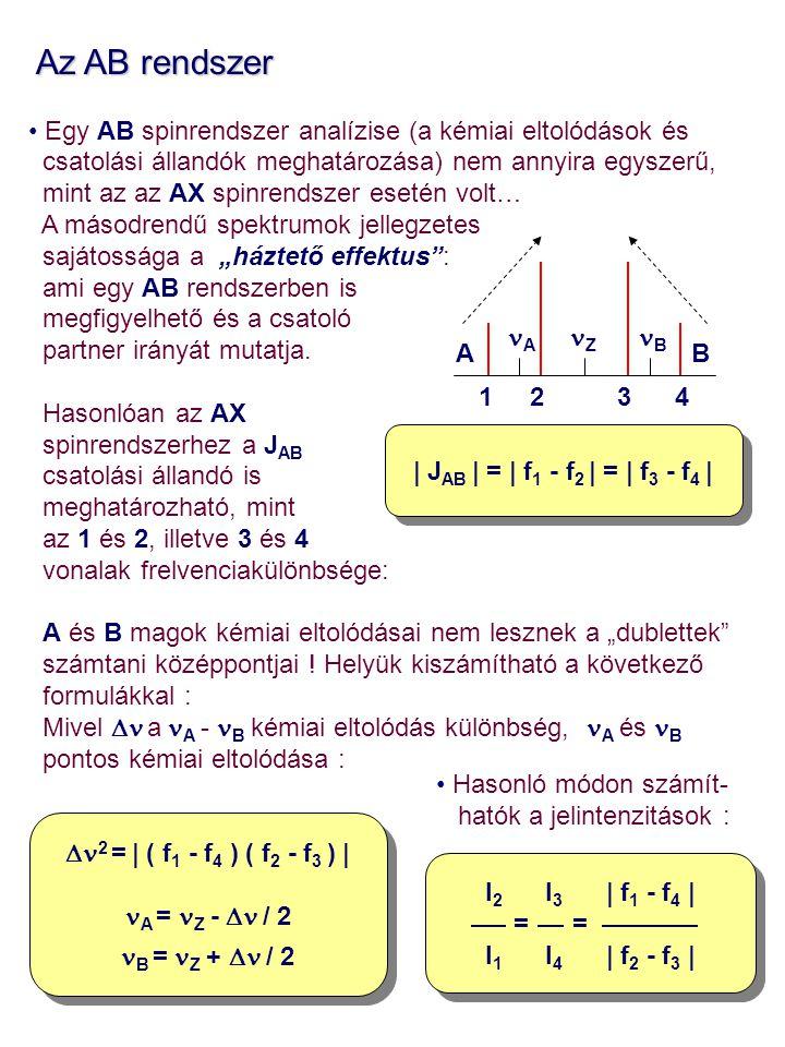 Az AB rendszer Az AB rendszer Egy AB spinrendszer analízise (a kémiai eltolódások és csatolási állandók meghatározása) nem annyira egyszerű, mint az a
