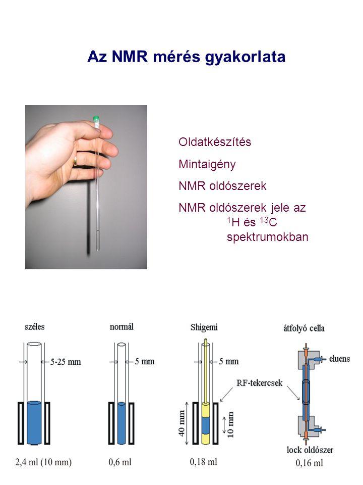 Az NMR mérés gyakorlata Oldatkészítés Mintaigény NMR oldószerek NMR oldószerek jele az 1 H és 13 C spektrumokban
