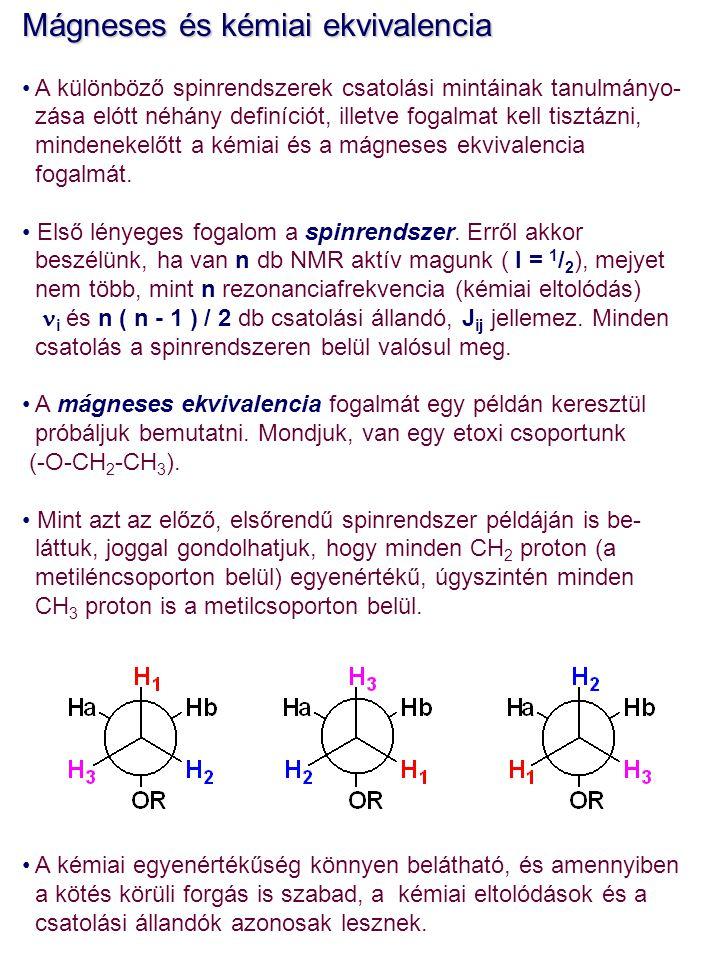 Mágneses ekvivalencia MIvel az egyes szénatomokhoz kapcsolódó protonok kémiai eltolódása ugyan változhat, a szabad forgás követ- keztében csak egy átlagos kémiai eltolódást figyelhetünk meg.