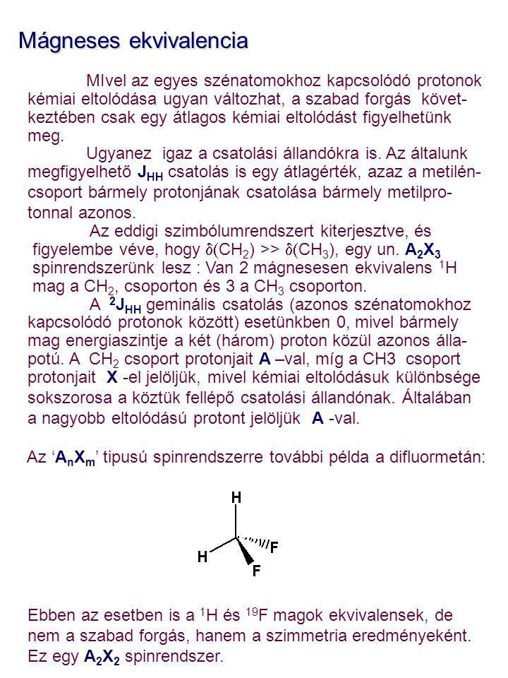 Mágneses ekvivalencia MIvel az egyes szénatomokhoz kapcsolódó protonok kémiai eltolódása ugyan változhat, a szabad forgás követ- keztében csak egy átl