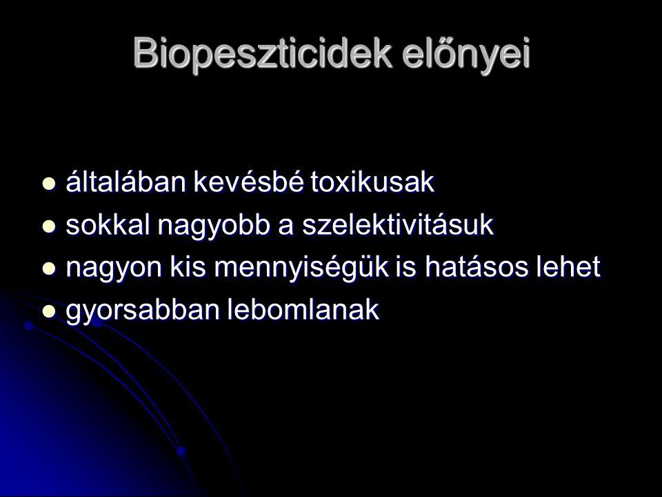Biopeszticidek előnyei általában kevésbé toxikusak általában kevésbé toxikusak sokkal nagyobb a szelektivitásuk sokkal nagyobb a szelektivitásuk nagyo