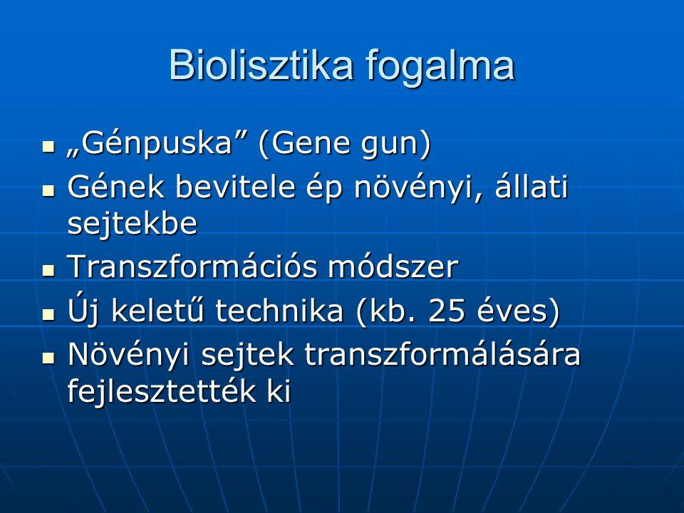 """Biolisztika fogalma """"Génpuska"""" (Gene gun) """"Génpuska"""" (Gene gun) Gének bevitele ép növényi, állati sejtekbe Gének bevitele ép növényi, állati sejtekbe"""