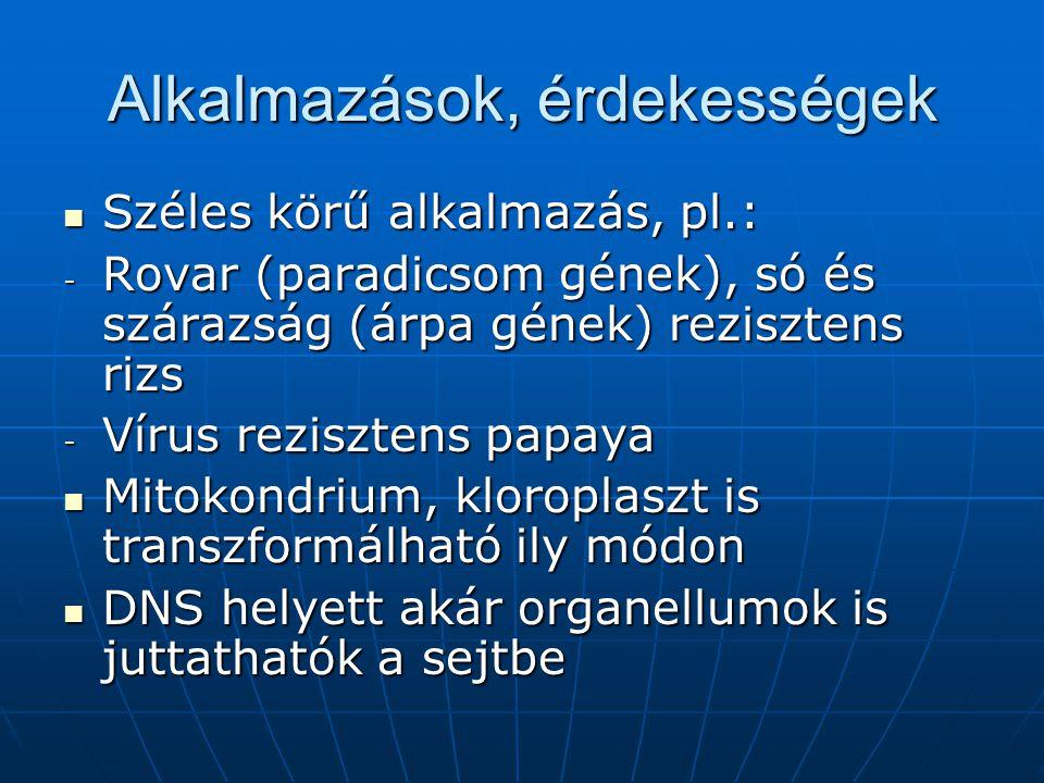 Alkalmazások, érdekességek Széles körű alkalmazás, pl.: Széles körű alkalmazás, pl.: - Rovar (paradicsom gének), só és szárazság (árpa gének) reziszte