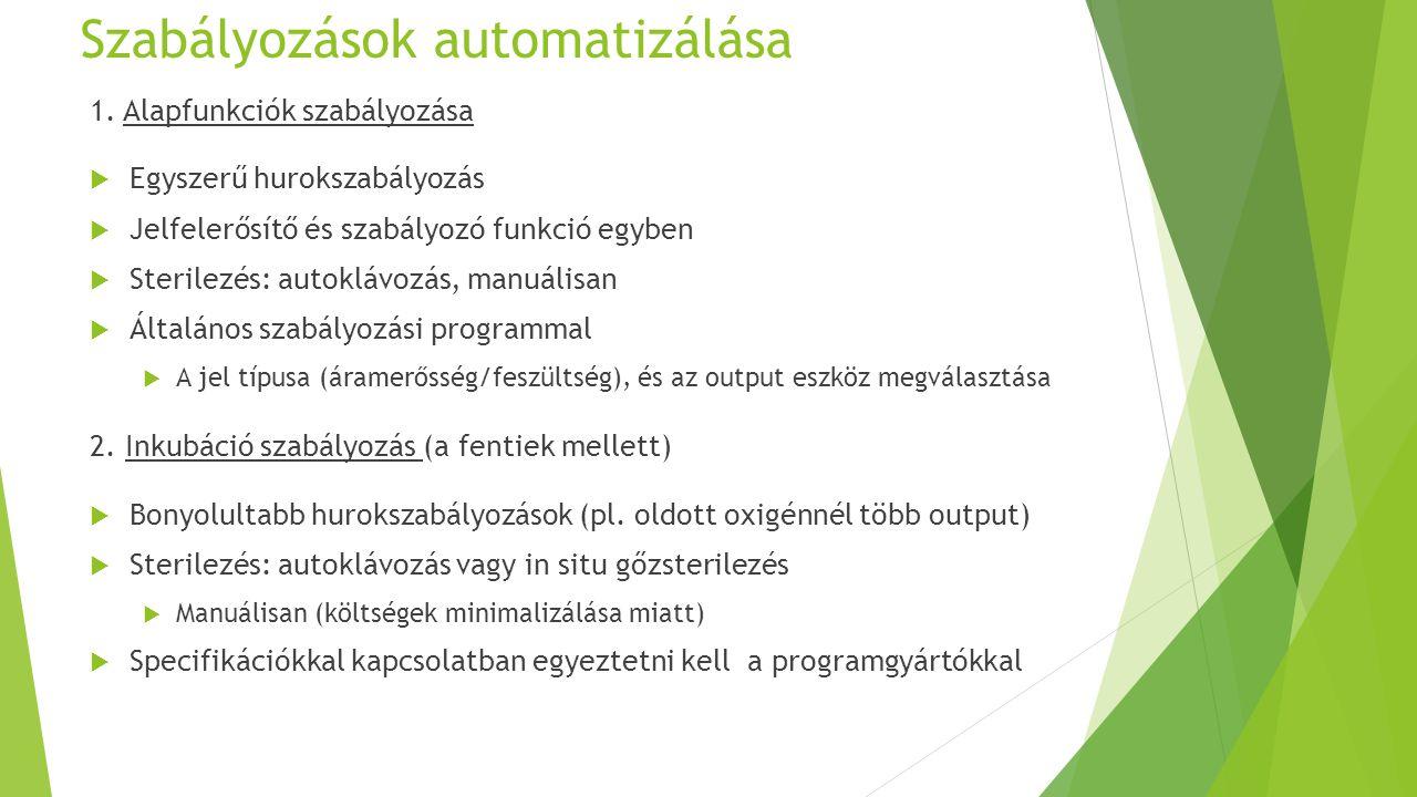 Szabályozások automatizálása 1. Alapfunkciók szabályozása  Egyszerű hurokszabályozás  Jelfelerősítő és szabályozó funkció egyben  Sterilezés: autok