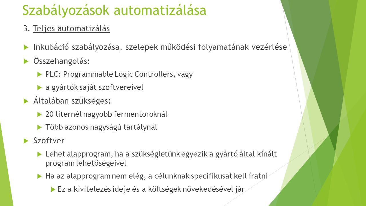 Szabályozások automatizálása 3. Teljes automatizálás  Inkubáció szabályozása, szelepek működési folyamatának vezérlése  Összehangolás:  PLC: Progra