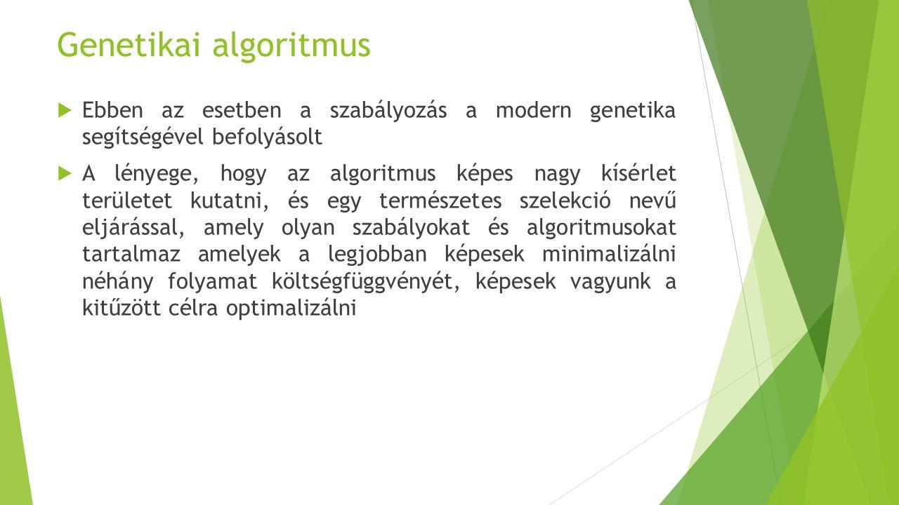 Genetikai algoritmus  Ebben az esetben a szabályozás a modern genetika segítségével befolyásolt  A lényege, hogy az algoritmus képes nagy kísérlet t