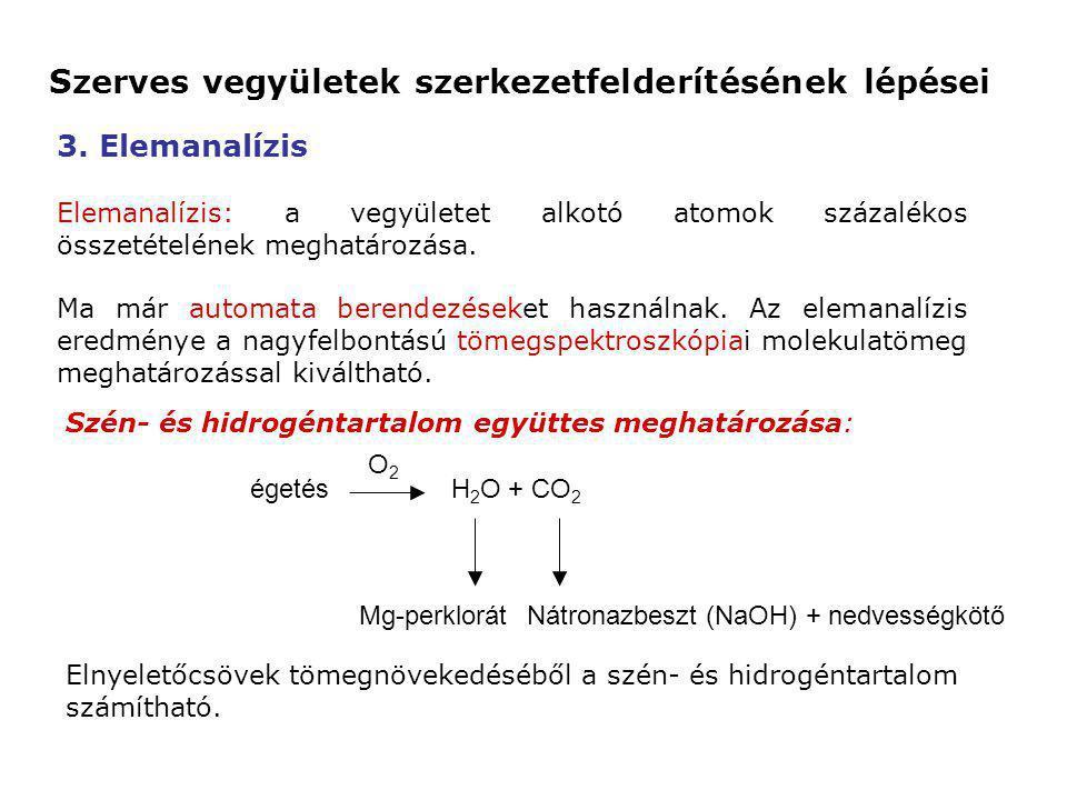 3. Elemanalízis Elemanalízis: a vegyületet alkotó atomok százalékos összetételének meghatározása. Ma már automata berendezéseket használnak. Az eleman