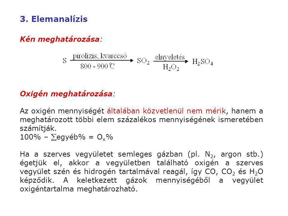 Kén meghatározása: Oxigén meghatározása: Az oxigén mennyiségét általában közvetlenül nem mérik, hanem a meghatározott többi elem százalékos mennyiségé