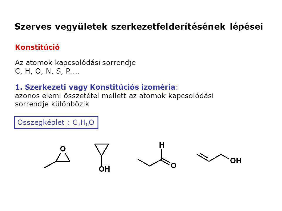 Szerves vegyületek szerkezetfelderítésének lépései Az atomok kapcsolódási sorrendje C, H, O, N, S, P….. 1. Szerkezeti vagy Konstitúciós izoméria: azon