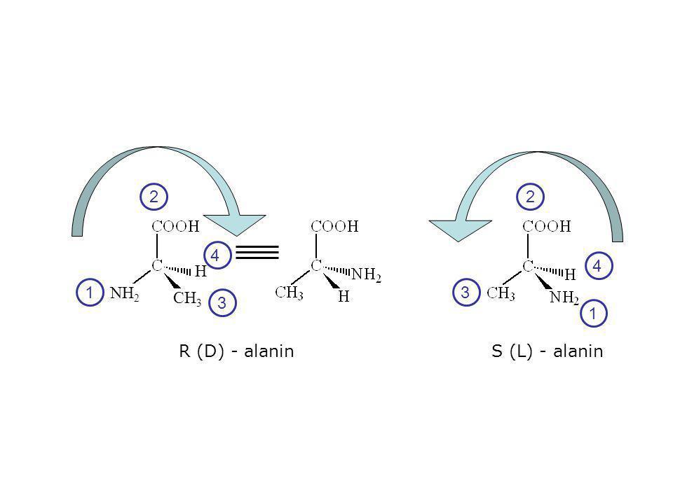 S (L) - alaninR (D) - alanin 1 2 3 1 2 3 4 NH 2 CH 3 H 4