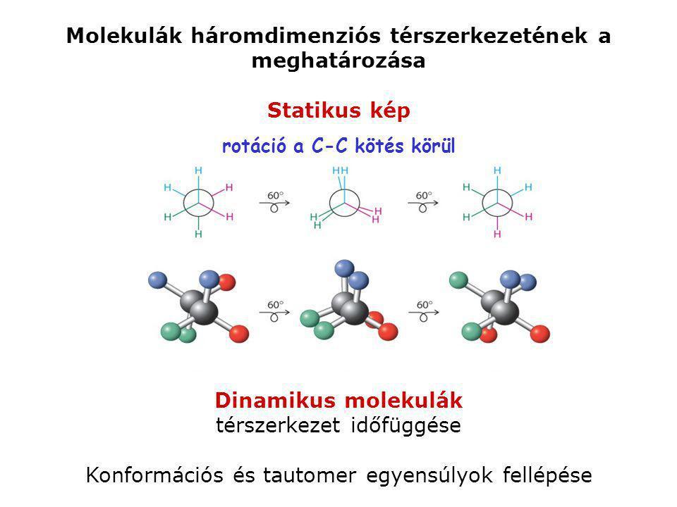 Dinamikus molekulák térszerkezet időfüggése Konformációs és tautomer egyensúlyok fellépése Molekulák háromdimenziós térszerkezetének a meghatározása S