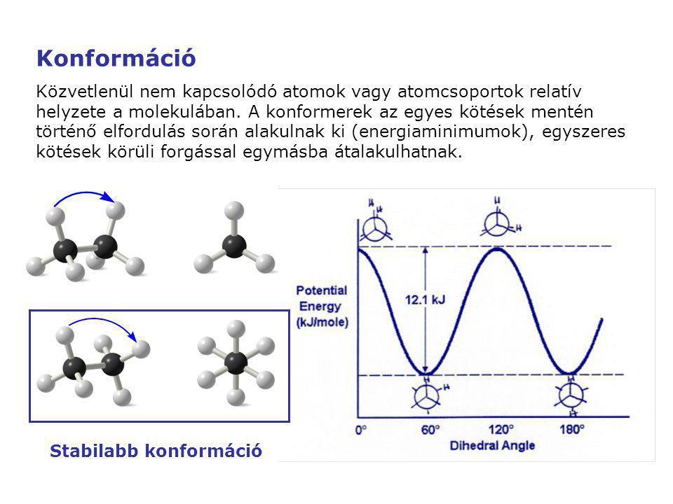 Stabilabb konformáció Konformáció Közvetlenül nem kapcsolódó atomok vagy atomcsoportok relatív helyzete a molekulában. A konformerek az egyes kötések