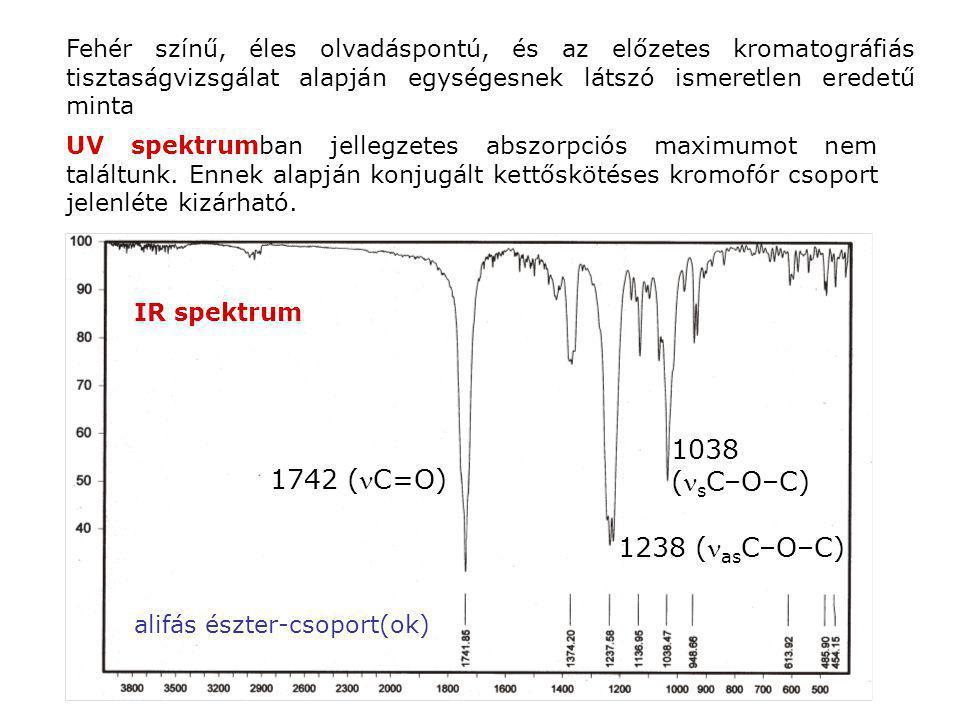 Fehér színű, éles olvadáspontú, és az előzetes kromatográfiás tisztaságvizsgálat alapján egységesnek látszó ismeretlen eredetű minta UV spektrumban je