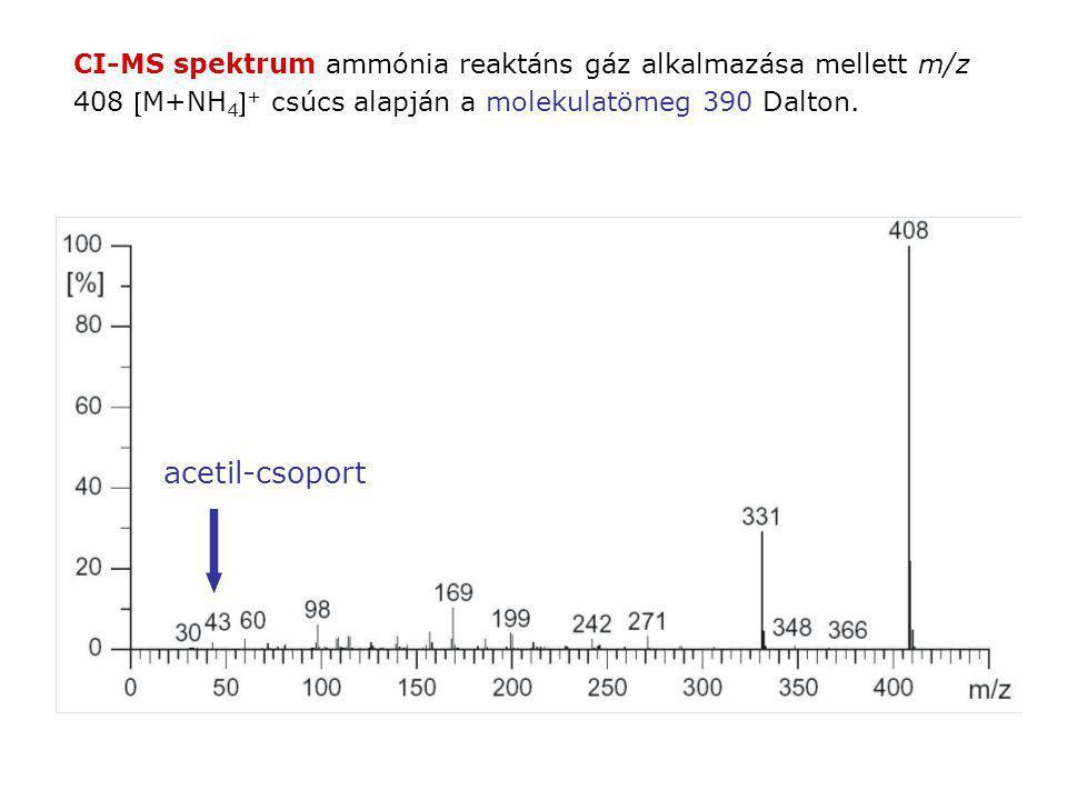 CI-MS spektrum ammónia reaktáns gáz alkalmazása mellett m/z 408 M+NH 4  + csúcs alapján a molekulatömeg 390 Dalton. acetil-csoport