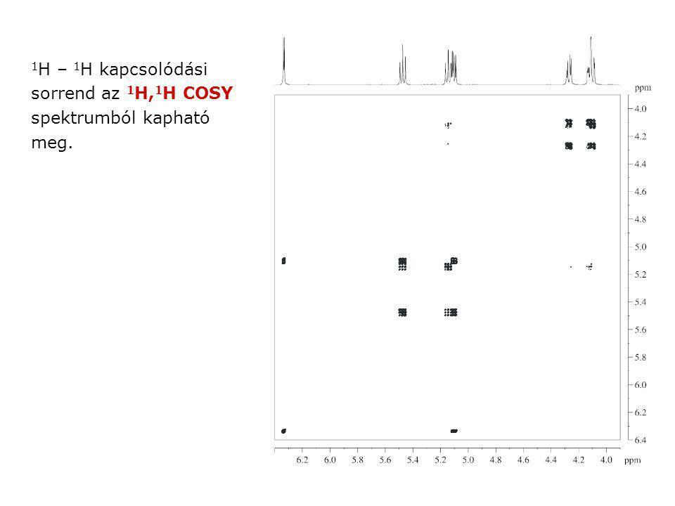 1 H – 1 H kapcsolódási sorrend az 1 H, 1 H COSY spektrumból kapható meg.
