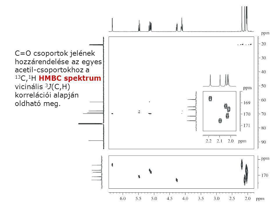 C=O csoportok jelének hozzárendelése az egyes acetil-csoportokhoz a 13 C, 1 H HMBC spektrum vicinális 3 J(C,H) korrelációi alapján oldható meg.