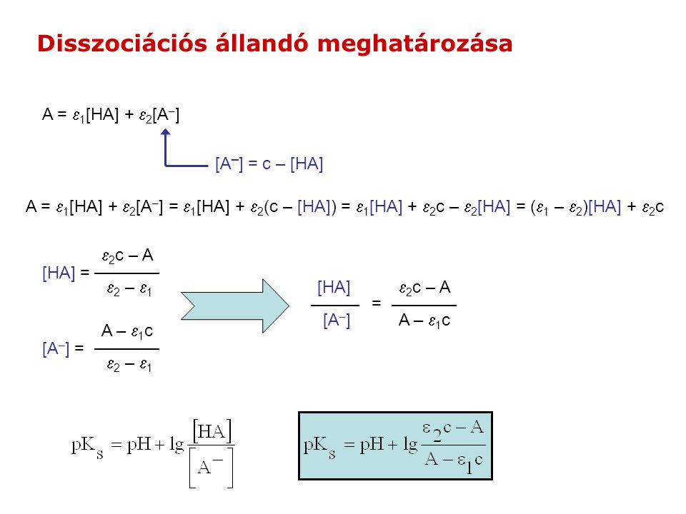 A =  1 [HA] +  2 [A – ] [A – ] = c – [HA] A =  1 [HA] +  2 [A – ] =  1 [HA] +  2 (c – [HA]) =  1 [HA] +  2 c –  2 [HA] = (  1 –  2 )[HA] +