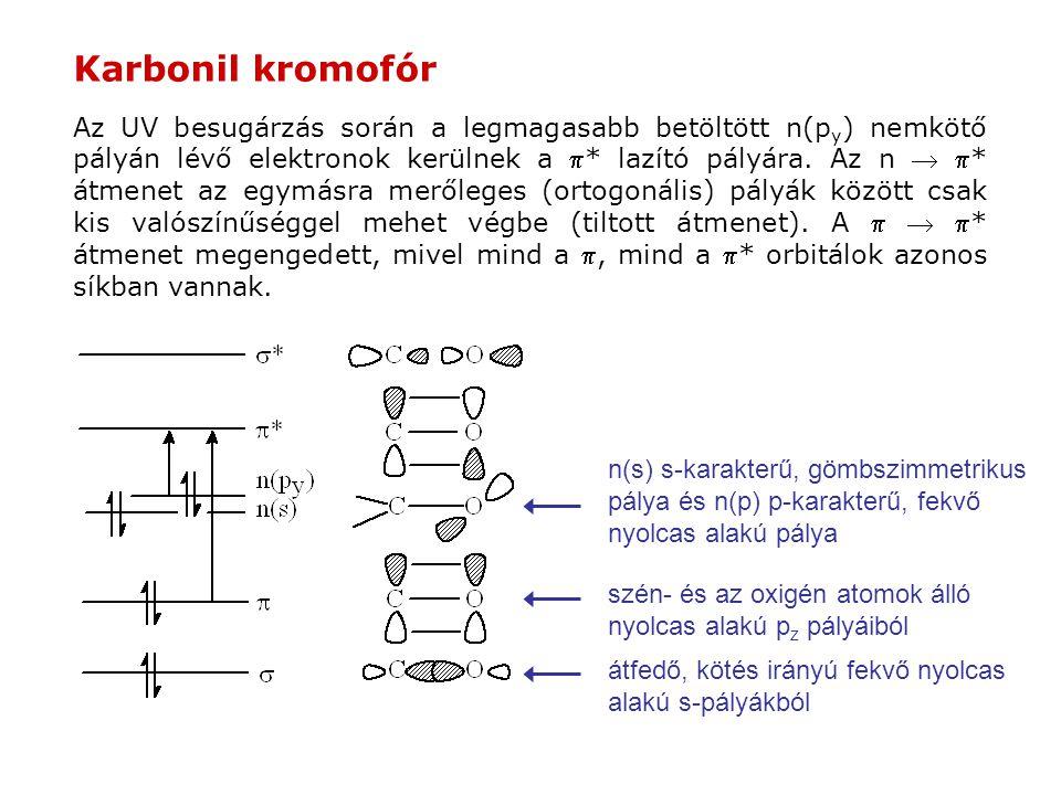Karbonil kromofór Az UV besugárzás során a legmagasabb betöltött n(p y ) nemkötő pályán lévő elektronok kerülnek a * lazító pályára. Az n  * átmene
