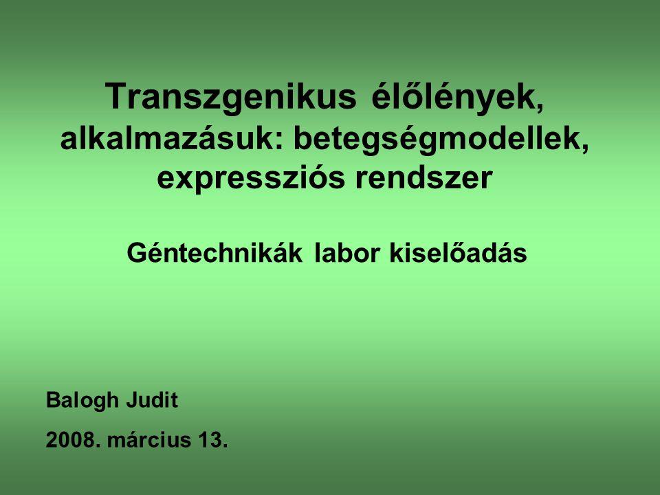 Transzgenikus élőlény: Olyan rekombináns élőlény (növény vagy állat), melynek genomjába egy idegen (más organizmusból származó) gén lett beépítve.