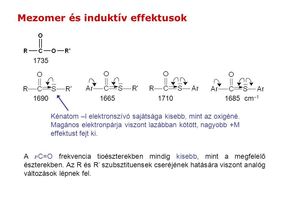 1685 cm –1 169016651710 A C=O frekvencia tioészterekben mindig kisebb, mint a megfelelő észterekben.
