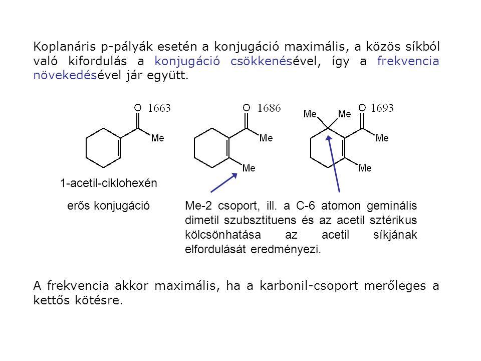 A frekvencia akkor maximális, ha a karbonil-csoport merőleges a kettős kötésre.