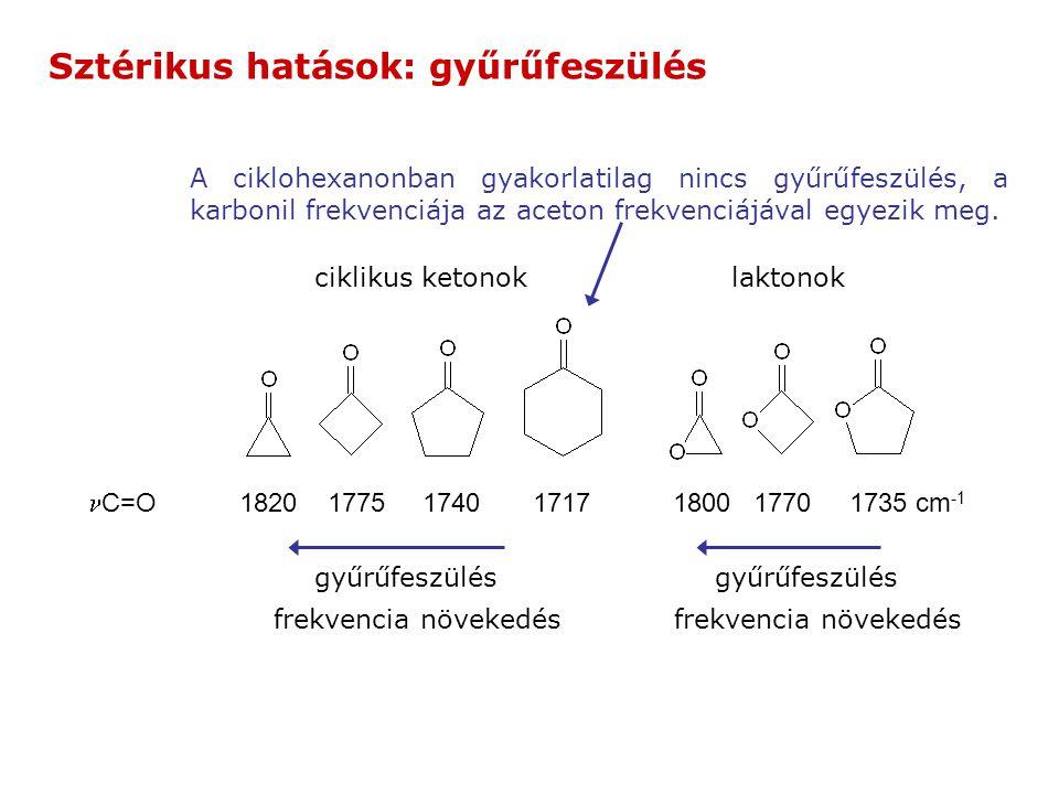 C=O 1820 1775 1740 1717 1800 1770 1735 cm -1 ciklikus ketonoklaktonok gyűrűfeszülés frekvencia növekedés A ciklohexanonban gyakorlatilag nincs gyűrűfeszülés, a karbonil frekvenciája az aceton frekvenciájával egyezik meg.