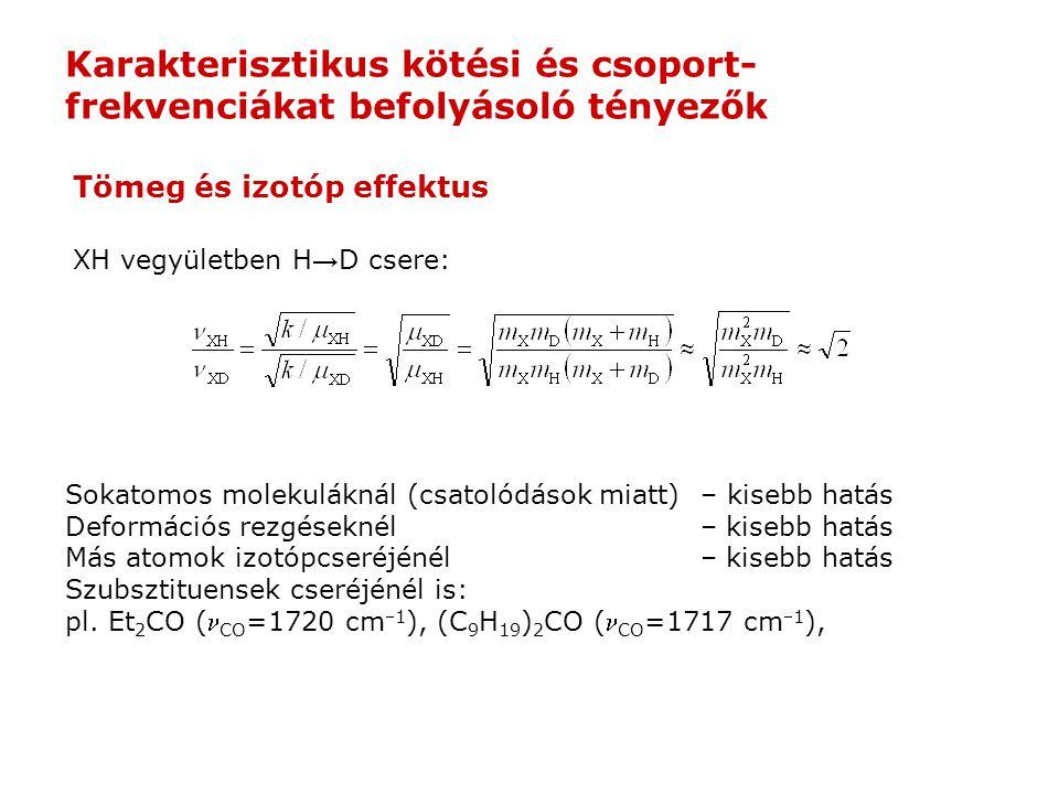 XH vegyületben H → D csere: Sokatomos molekuláknál (csatolódások miatt)– kisebb hatás Deformációs rezgéseknél– kisebb hatás Más atomok izotópcseréjénél– kisebb hatás Szubsztituensek cseréjénél is: pl.